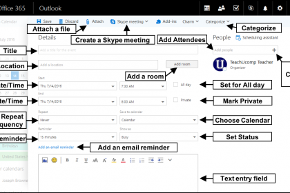 Create a Meeting in Outlook on the Web- Tutorial: A picture of a meeting request within Outlook on the Web.