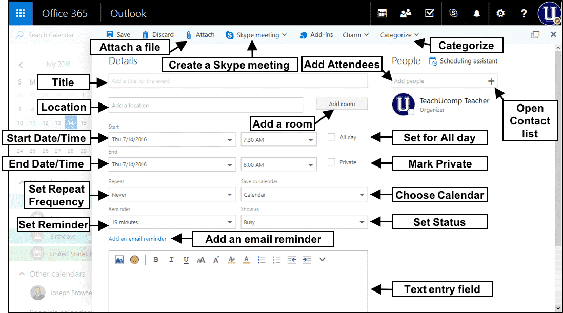 Create a Meeting in Outlook on the Web- Tutorial and