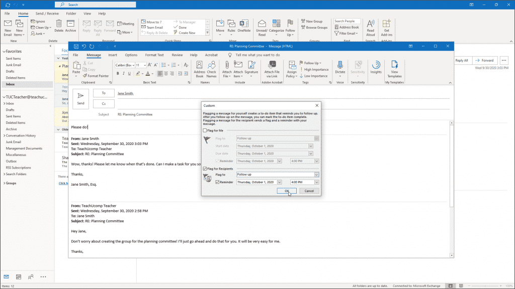 Flagging Messages in Outlook - Instructions: A picture of a user creating a custom message flag in Outlook.