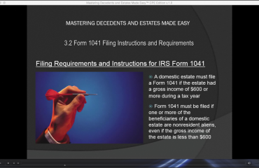 Form 1041 Filing Instructions and Requirements: A picture of the video lesson