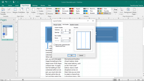 "Make Columns in Publisher: A picture of the ""Layout Guides"" dialog box in Publisher 2016."
