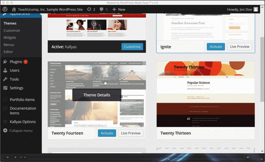 "Change WordPress Themes- Tutorial and Instructions: A picture of the video lesson ""7.1- Selecting and Changing Themes"" from the ""Mastering WordPress Made Easy v.4.0"" training."