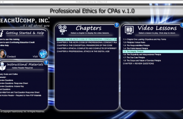 The Integrity Principle of the AICPA Code of Professional Conduct: A picture of the training interface for the