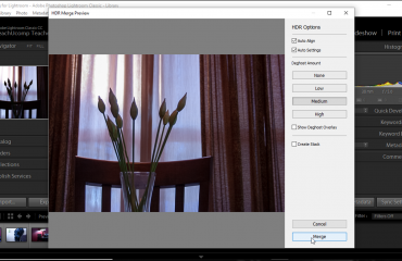"HDR Photo Merge in Lightroom Classic CC - Instructions: A picture of the ""HDR Merge Preview"" dialog box in Lightroom Classic CC."