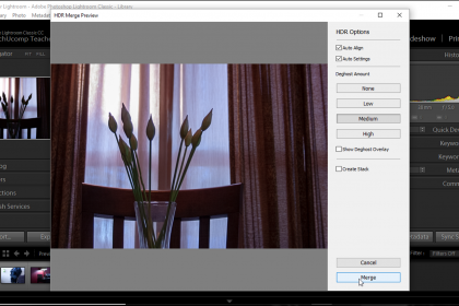 """HDR Photo Merge in Lightroom Classic CC - Instructions: A picture of the """"HDR Merge Preview"""" dialog box in Lightroom Classic CC."""