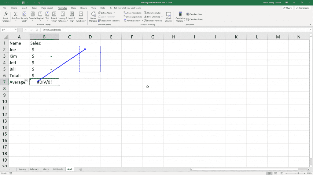 Trace Error in Excel - Instructions: A picture of formula auditing arrows shown in a worksheet after using the Trace Error tool in Excel.