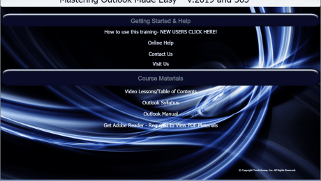 "Buy Outlook 2019 and 365 Training: A picture of TeachUcomp, Inc.'s ""Mastering Outlook Made Easy v.2019 and 365"" training interface for digital downloads and DVDs."