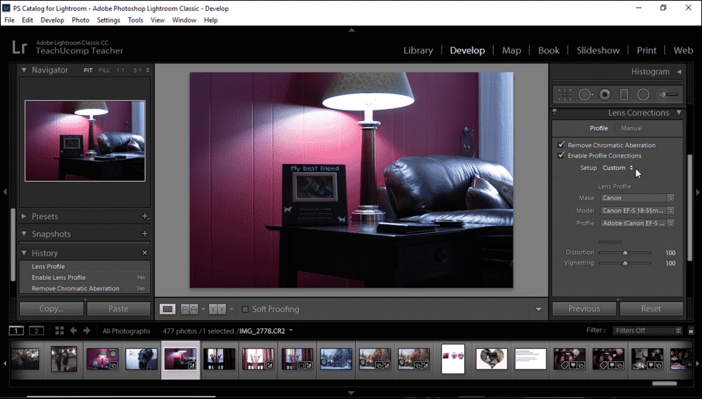 """Automatically Correct Lens Distortions in Lightroom Classic CC- Instructions: A picture of the """"Lens Correction"""" panel in Lightroom Classic CC."""
