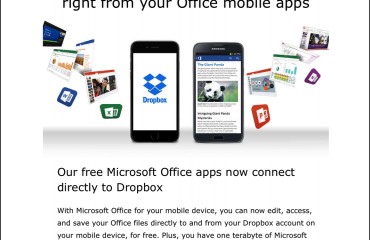 Free Microsoft Office Apps with Dropbox Integration: A picture of the email sent by Microsoft that announced the new Microsoft Office apps with Dropbox integration. Source: Microsoft.