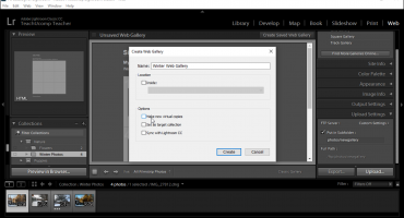 """Save a Web Gallery in Lightroom Classic CC- Instructions: A picture of the options for saving a web gallery within the """"Create Web Gallery"""" dialog box in Lightroom Classic CC."""