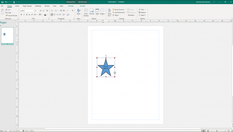 Add Text to Shapes in Publisher - Instructions: A picture of a shape containing too much text in Publisher. Note the red resizing handles and the ellipsis mark on the shape. This indicates there is more text in the shape than it can display.
