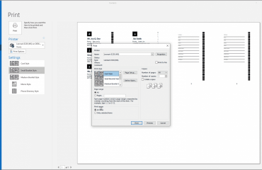 """Print Contacts in Outlook - Instructions: A picture of the """"Print"""" dialog box that appears when printing contacts in Outlook."""