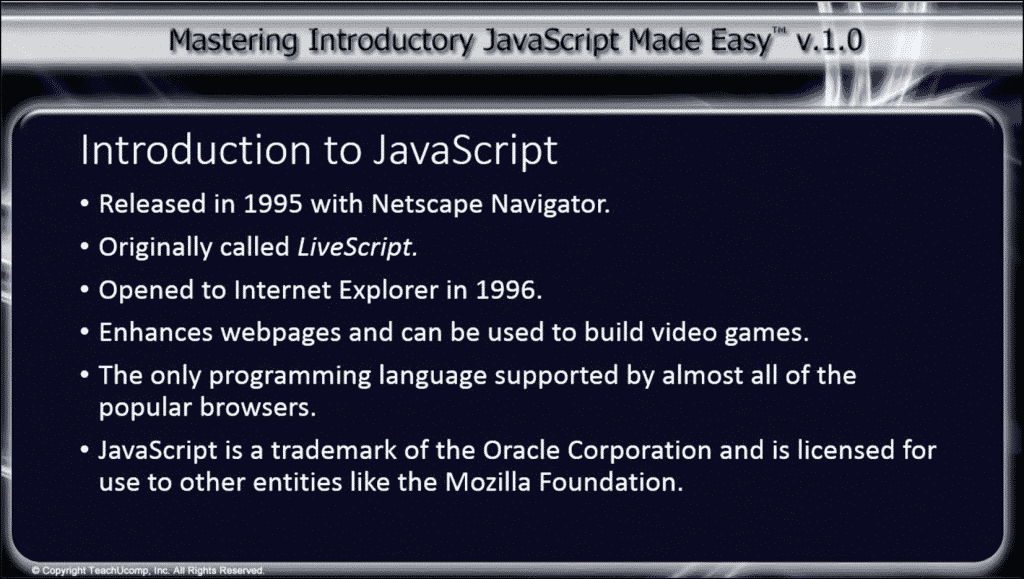 Introduction to JavaScript- Tutorial: A picture of the main discussion points from our introduction to JavaScript lesson.