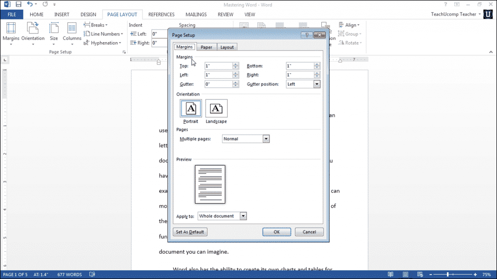 """Page Setup in Word- Tutorial: A picture of the """"Margins"""" tab within the """"Page Setup"""" dialog box in Microsoft Word 2013."""
