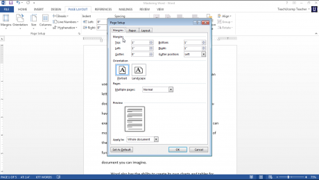Page Setup in Word- Tutorial: A picture of the