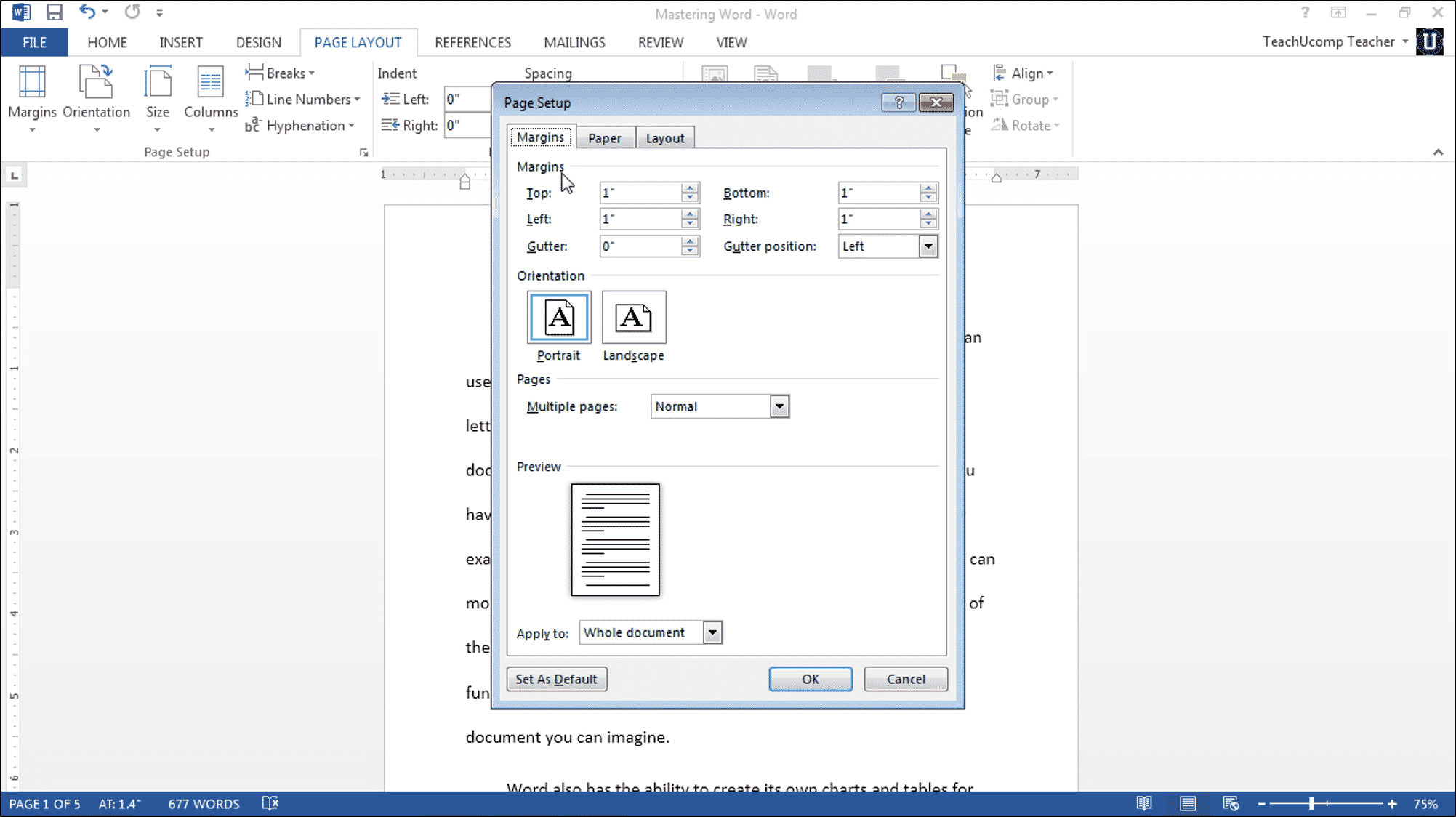 page setup in word tutorial teachucomp inc
