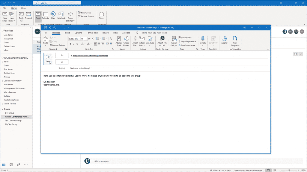 Start a Group Conversation in Outlook - Instructions: A picture of a user starting a group conversation in Outlook.