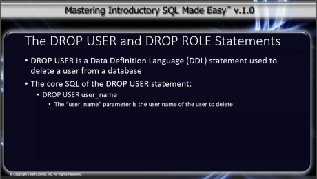 DROP USER and DROP ROLE Statements in SQL: A picture from the video lesson titled