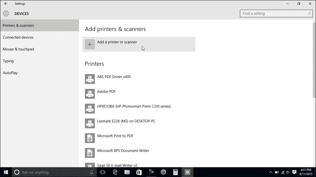 """Printers and Scanners in Windows 10- Tutorial: A picture of the """"Printers & scanners"""" category within the """"Devices"""" settings in Windows 10."""