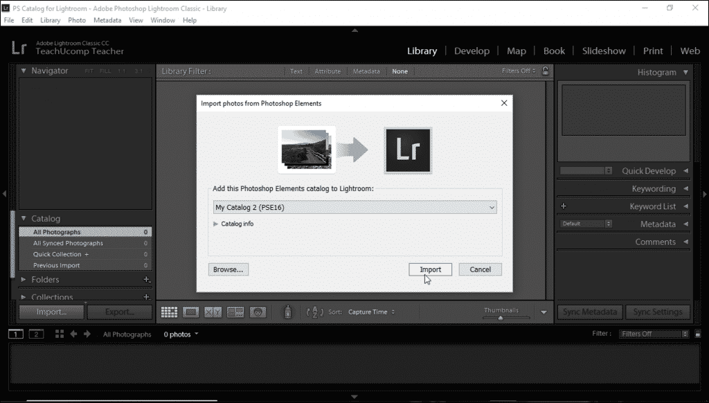 Import Photos from Photoshop Elements into Lightroom Classic CC- Instructions: A picture of a user importing a Photoshop Elements catalog into Lightroom Classic CC.