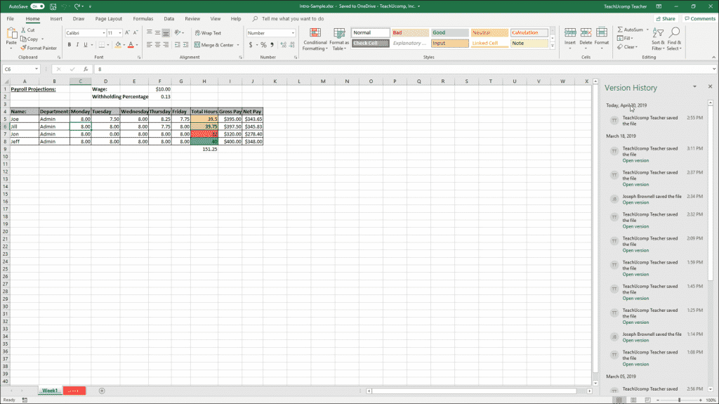 """AutoSave in Excel for Office 365 - Instructions: A picture of the """"Version History"""" panel you can use to revert changes made to a file with AutoSave enabled in Excel for Office 365."""