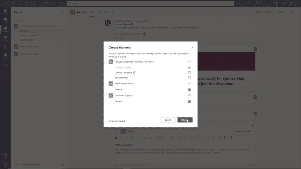 Record a Meeting in Teams - Instructions: A picture of a user posting to multiple channels in Microsoft Teams.