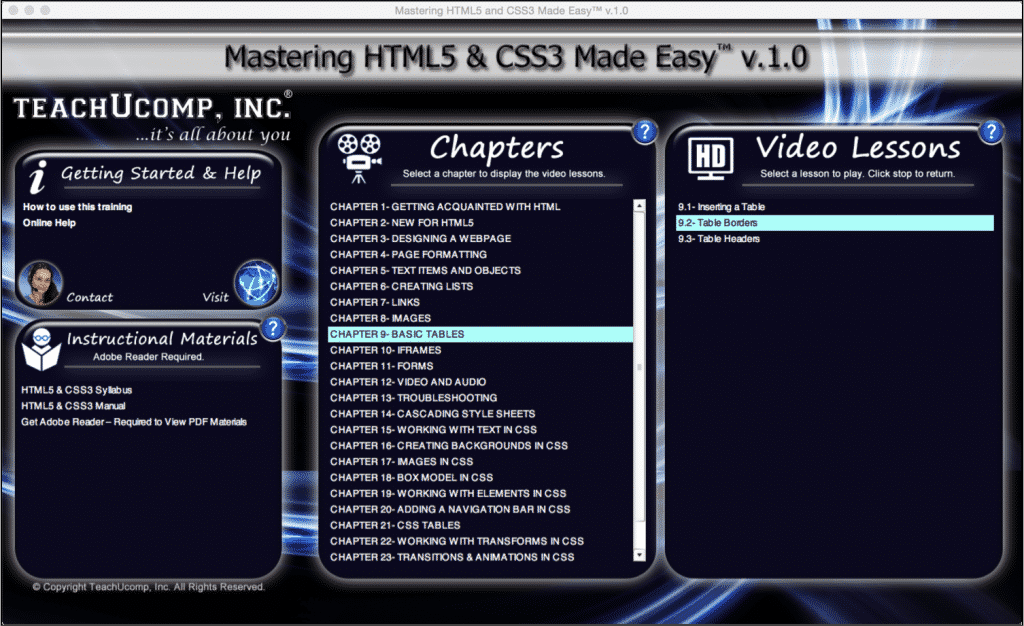 "Add Table Borders Using HTML5: A picture of the ""Mastering HTML5 & CSS3 Made Easy v.1.0"" training interface."