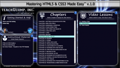 "HTML Terminology- Tutorial: A picture of the ""Mastering HTML5 & CSS3 Made Easy v.1.0"" training interface."