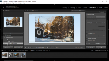 "Play a Slideshow in Lightroom Classic CC- Instructions: A picture of a user clicking the ""Play"" button to start playing a slideshow in Lightroom Classic CC's Slideshow module."