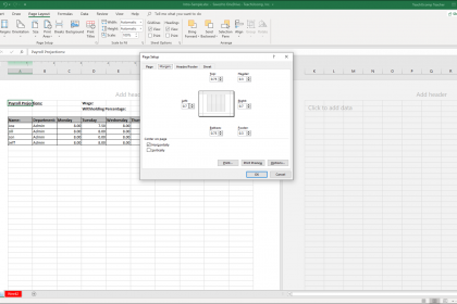 """Set Margins in Excel - Instructions: A picture of the """"Margins"""" tab within the """"Page Setup"""" dialog box in Excel."""
