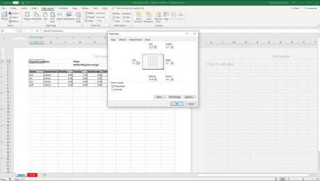 "Set Margins in Excel - Instructions: A picture of the ""Margins"" tab within the ""Page Setup"" dialog box in Excel."