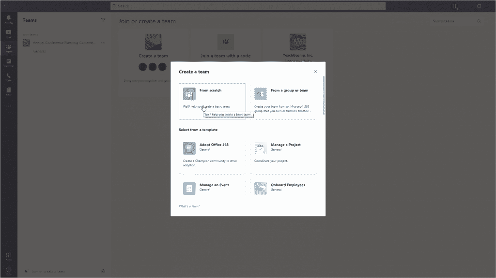 Create a Team in Microsoft Teams - Instructions: A picture of a user creating a new team in Microsoft Teams from scratch.