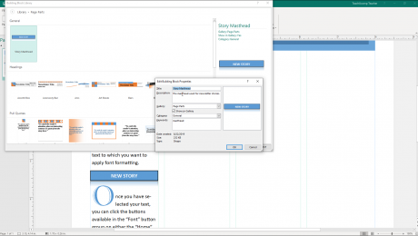 "Use Building Blocks in Publisher - Instructions: A picture of a user editing the properties of a building block in the ""Create New Building Block"" dialog box in Microsoft Publisher."
