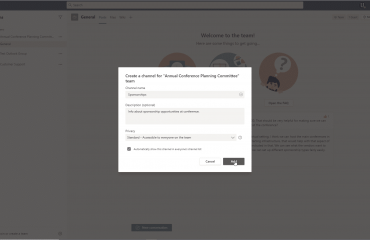 Create a Channel in Microsoft Teams - Instructions: A picture of a user creating a new channel for a team in Microsoft Teams.