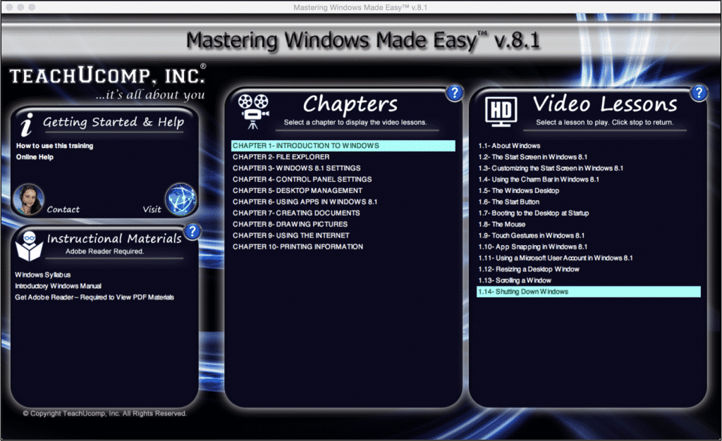 """Shut Down Windows 8.1- A Tutorial: A picture of the """"Mastering Windows Made Easy v.8.1"""" training interface."""