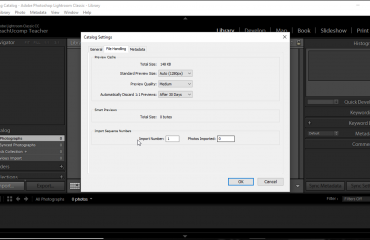 "Catalog Settings in Lightroom Classic CC- Instructions: A picture of the ""File Handling"" catalog settings in Lightroom Classic CC."