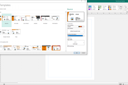 Change Templates in Publisher - Instructions: A picture of a user changing a publication template in Publisher and customizing the selected template.