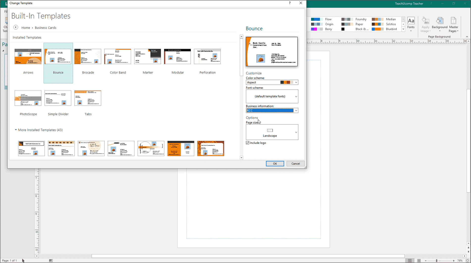 change templates in publisher