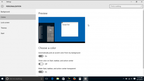 Change the Color Settings in Windows 10- Tutorial: A picture of the