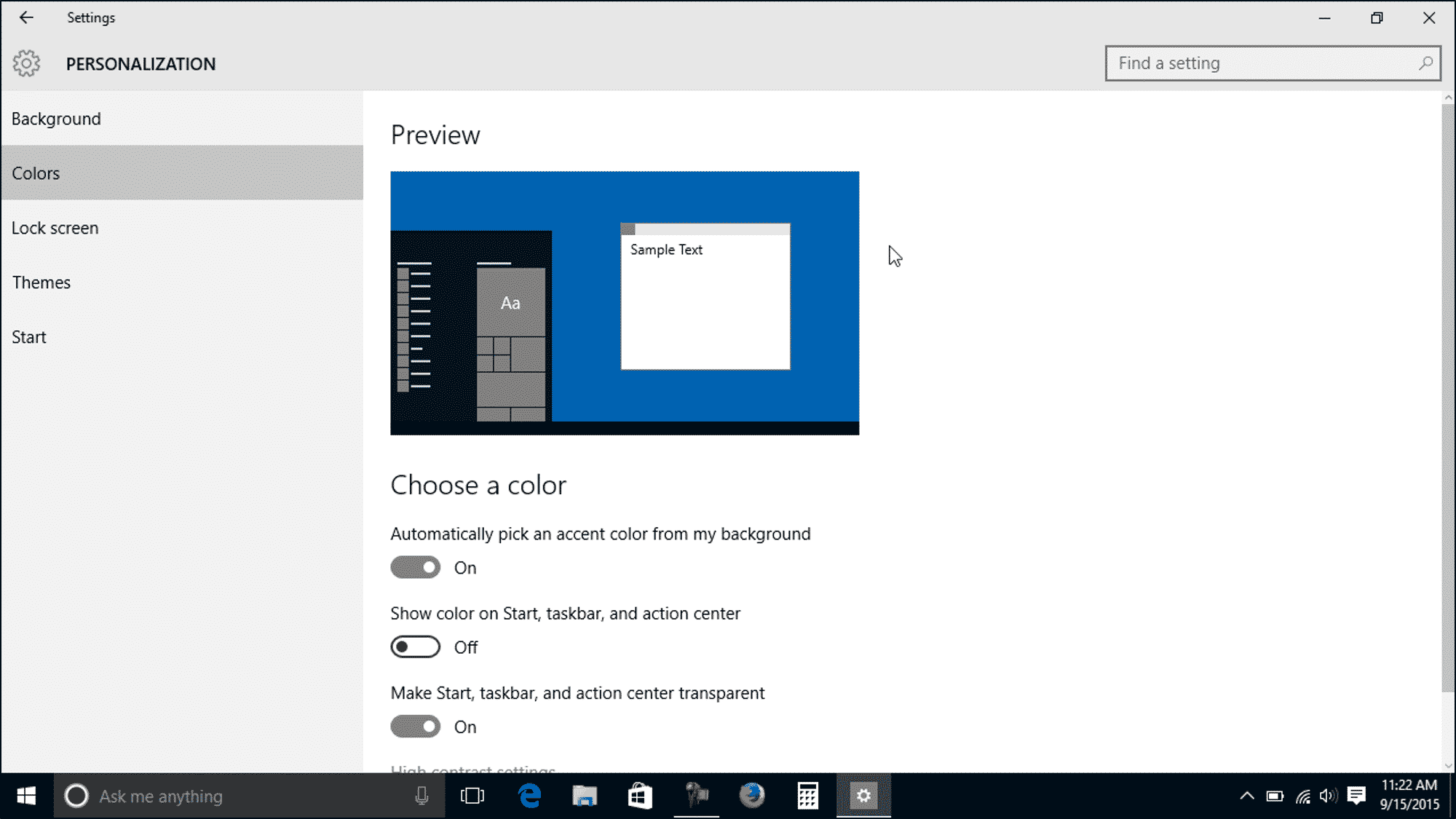 change the color settings in windows 10