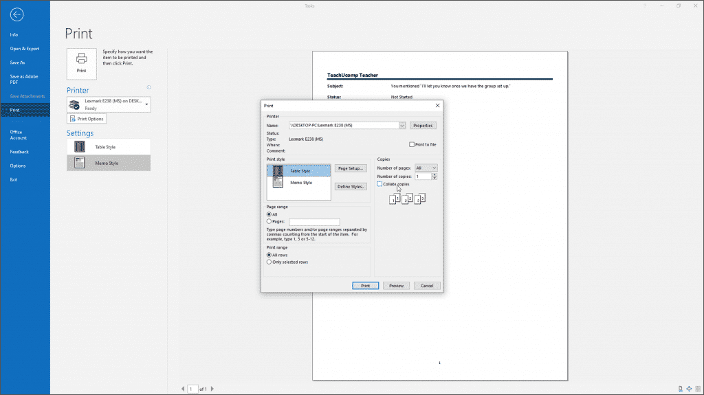 Print Tasks in Outlook - Instructions: A picture of a user setting printing options to print a task list in Outlook.