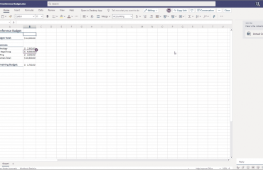 Collaborate on Files in Teams - Instructions: A picture of a user collaborating on an Excel workbook in Microsoft Teams and having a conversation with others.