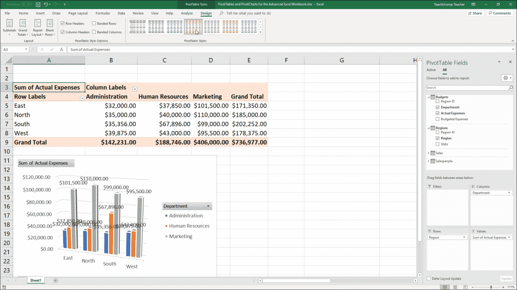 """Format a PivotTable in Excel: A picture showing the """"Design"""" tab of the """"PivotTable Tools"""" contextual tab in the Ribbon of Excel."""