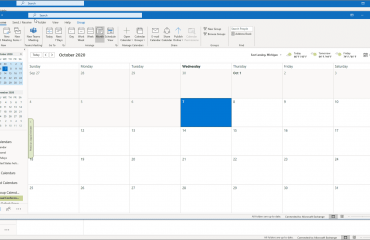 Open a Group Calendar or Notebook in Outlook - Instructions: A picture of a user opening a group calendar in Outlook.