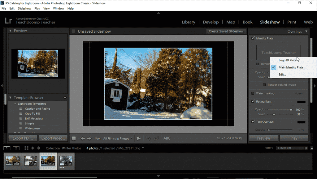 Add an Identity Plate to a Slideshow in Lightroom Classic CC- Instructions: A picture of a user adding a saved identity plate to a slideshow in Lightroom Classic CC.