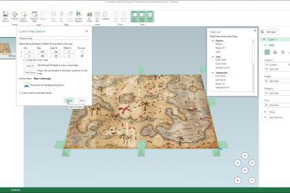 Custom 3D Maps in Excel - Instructions: A picture of a user setting the custom map options for a custom 3D map in Excel.
