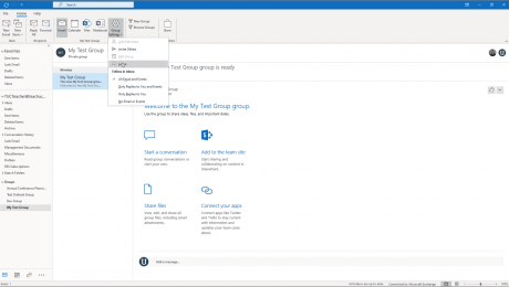 Leave a Group in Outlook - Instructions: A picture of a user leaving a group in Outlook.