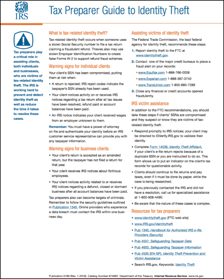 Warning Signs of Client Identity Theft-Based Tax Fraud: A picture of IRS Publication 5199 (Rev. 1-2016). Source: IRS.
