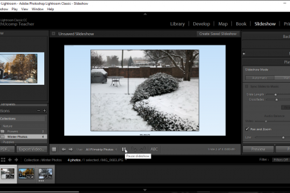 Preview a Slideshow in Lightroom Classic CC- Instructions: A picture of a user previewing a slideshow in the Slideshow module of Lightroom Classic CC.