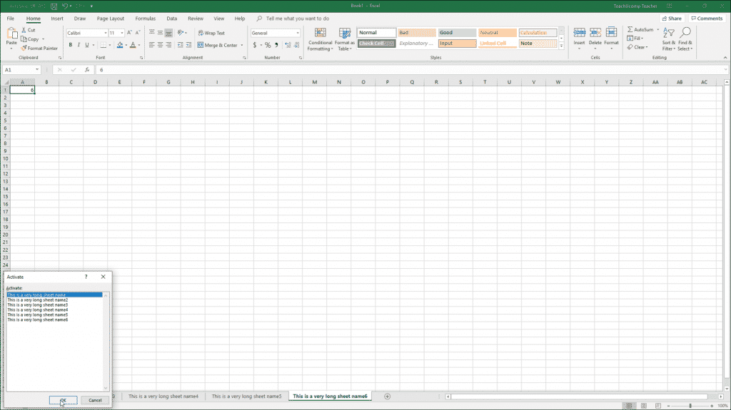 "Navigating Worksheets in Excel - Instructions: A picture of a user navigating worksheets in Excel by using the ""Activate"" dialog box."